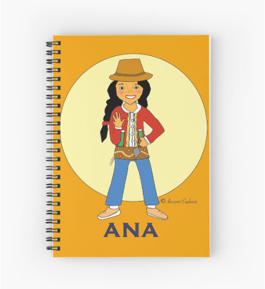 Ana Solana waving hello on note book cover