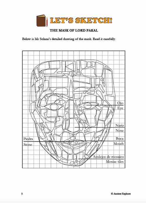 Digital drawing of a Mayan mask on graph paper by Lisa Dunbar Solas